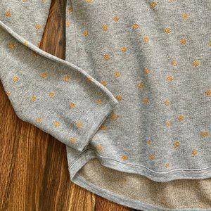 LOFT Scattered Polka Dot Sweatshirt XL Gold Gray